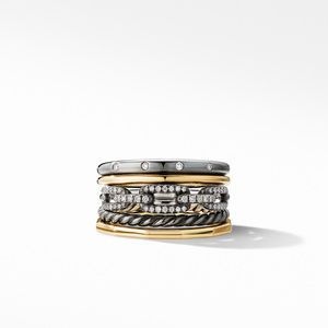 Stax Wide Ring in Blackened Silver with Diamonds alternative image