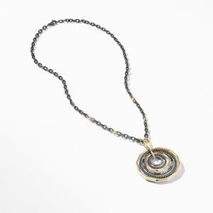 Stax Black and Gold Large Pendant Necklace with Diamonds alternative image