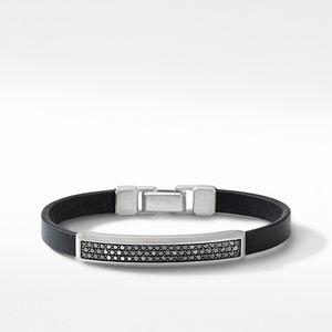 Black Leather ID Bracelet with Pavé Black Diamonds