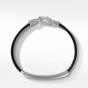 Black Leather ID Bracelet with Pavé Black Diamonds alternative image
