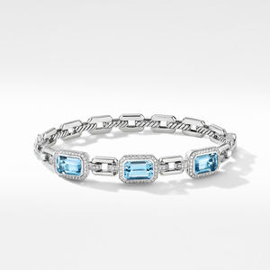 Novella Three Stone Bracelet with Blue Topaz and Pavé Diamonds alternative image