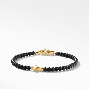 Spiritual Beads Cross Station Bracelet with Black Onyx and 18K Yellow Gold