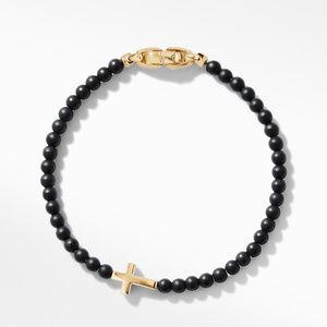 Spiritual Beads Cross Station Bracelet with Black Onyx and 18K Yellow Gold alternative image