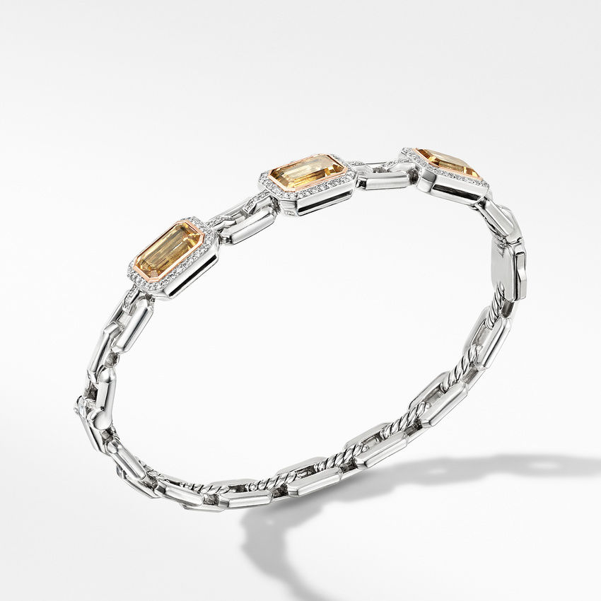 Novella Three Stone Bracelet with Champagne Citrine, Pavé Diamonds and 18K Rose Gold