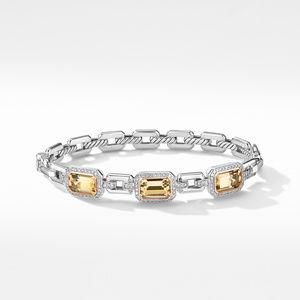 Novella Three Stone Bracelet with Champagne Citrine, Pavé Diamonds and 18K Rose Gold alternative image