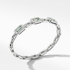 Novella Three Stone Bracelet with Prasiolite and Pavé Diamonds