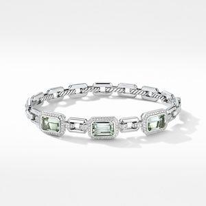 Novella Three Stone Bracelet with Prasiolite and Pavé Diamonds alternative image