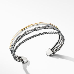 Stax Three-Row Cuff Bracelet in Blackened Silver with Diamonds alternative image