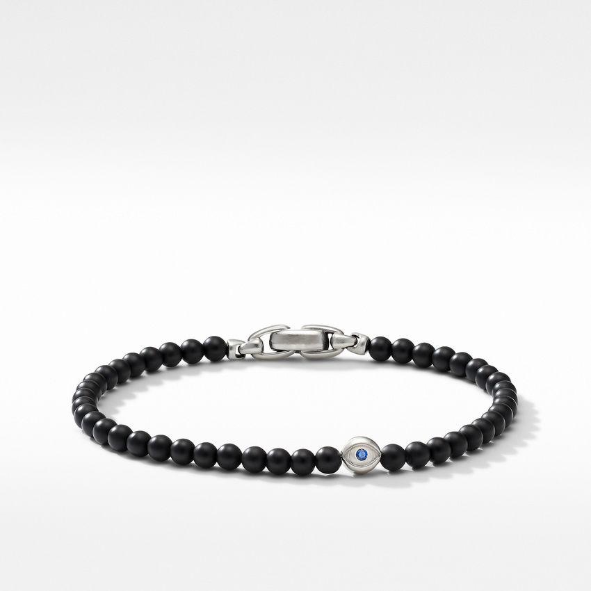 Spiritual Beads Evil Eye Bracelet with Black Onyx and Sapphires
