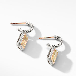 Novella Drop Earrings with Champagne Citrine, Pavé Diamonds and 18K Rose Gold alternative image