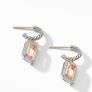 Novella Drop Earrings with Morganite, Pavé Diamonds and 18K Rose Gold alternative image