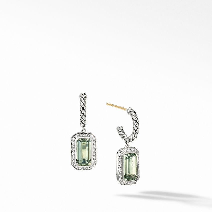 Novella Drop Earrings with Prasiolite and Pavé Diamonds