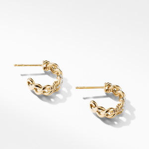Belmont Curb Link Small Hoop Earrings in 18K Yellow Gold with Pavé Diamonds alternative image