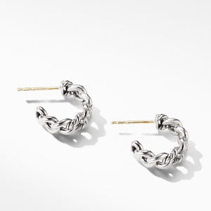 Belmont Curb Link Small Hoop Earrings with Pavé Diamonds alternative image