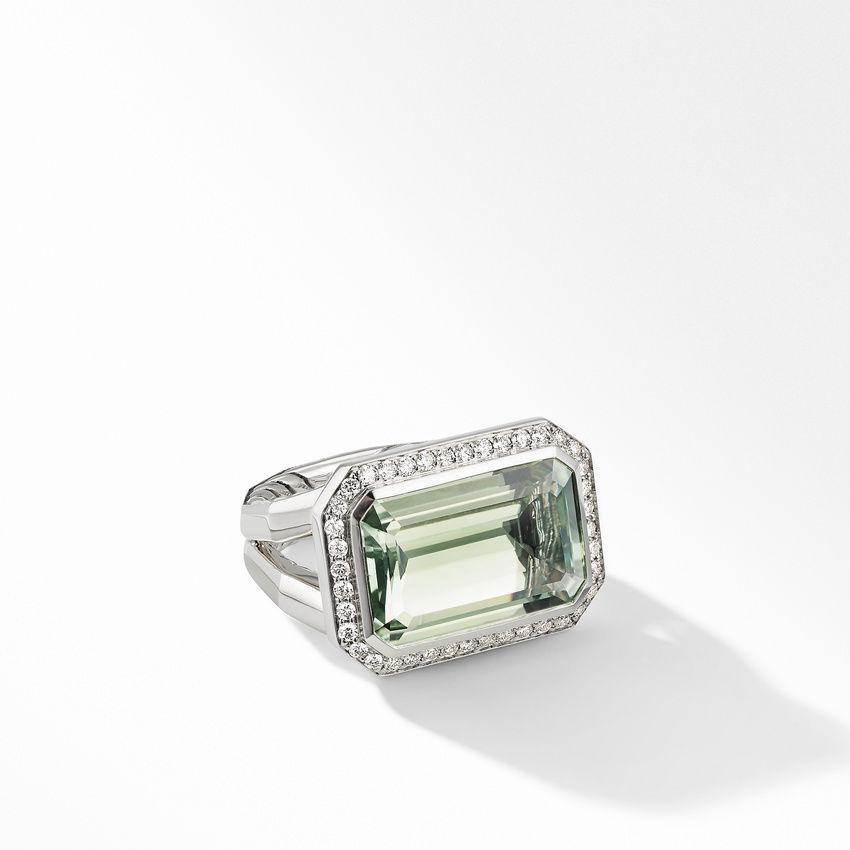 Novella Statement Ring with Prasiolite and Pavé Diamonds