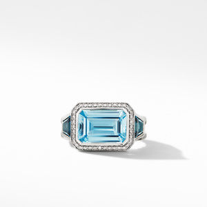 Novella Three Stone Ring with Blue Topaz and Pavé Diamonds alternative image