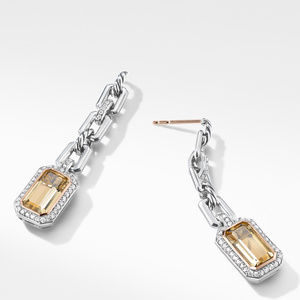 Novella Chain Link Drop Earrings with Champagne Citrine, Pavé Diamonds and 18K Rose Gold alternative image