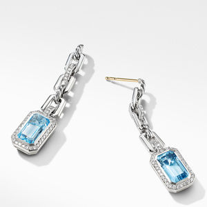 Novella Chain Link Drop Earrings with Blue Topaz and Pavé Diamonds alternative image