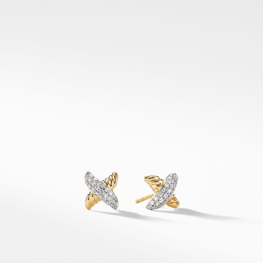 X Earrings with Diamonds in Gold