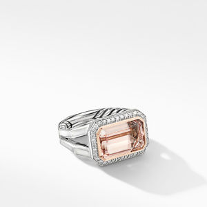 Novella Statement Ring with Morganite, Pavé Diamonds and 18K Rose Gold