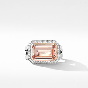 Novella Statement Ring with Morganite, Pavé Diamonds and 18K Rose Gold alternative image