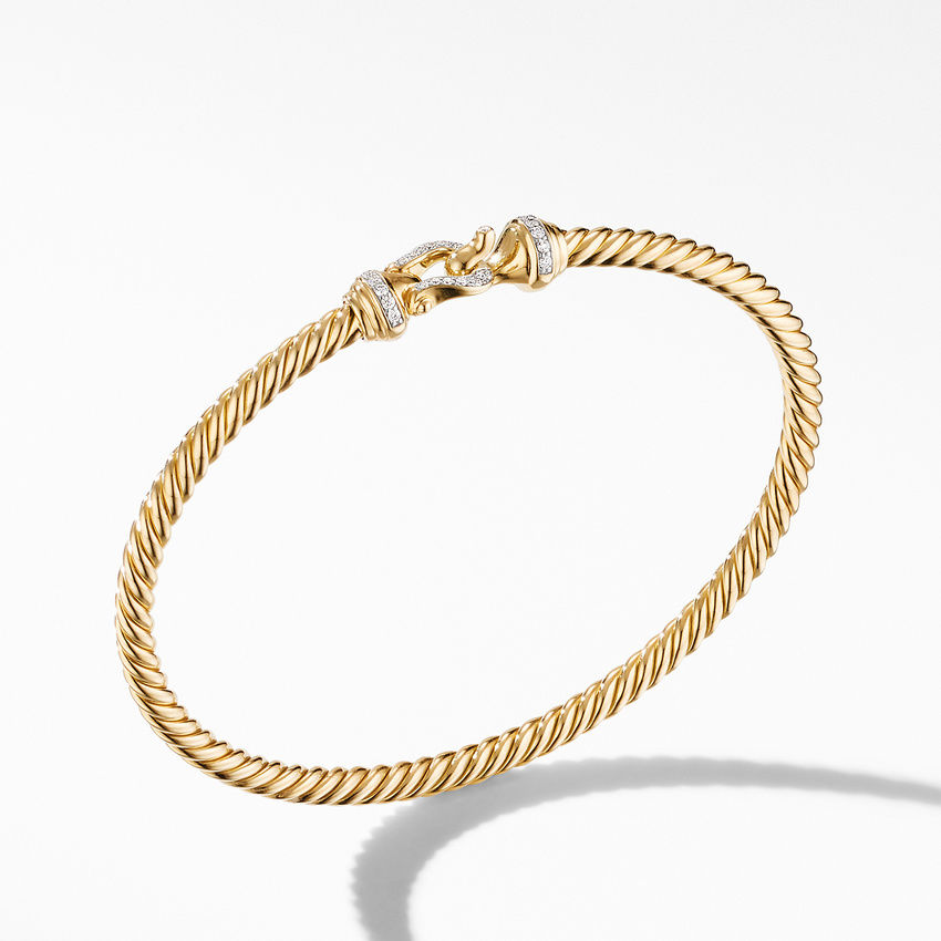 Cable Buckle Collection® Bracelet in 18K Yellow Gold with Diamonds
