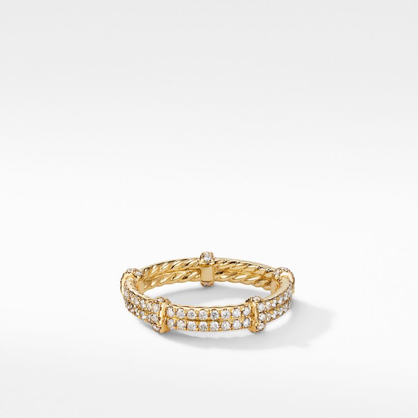 DY Astor Double Band Ring in 18K Yellow Gold with Pavé Diamonds