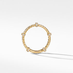 DY Astor Double Band Ring in 18K Yellow Gold with Pavé Diamonds alternative image