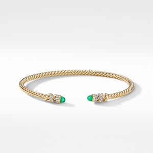 Petite Helena Open Bracelet in 18K Yellow Gold with Emeralds and Diamonds alternative image