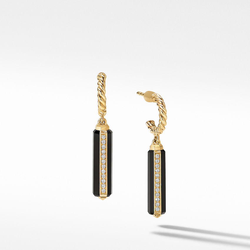 Lexington Short Drop Earrings in 18K Yellow Gold with Black Onyx and Diamonds