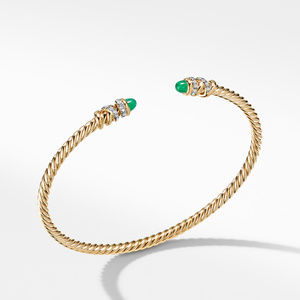Petite Helena Open Bracelet in 18K Yellow Gold with Emeralds and Diamonds