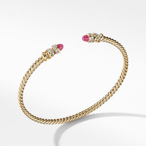 Petite Helena Open Bracelet in 18K Yellow Gold with Rubies and Diamonds