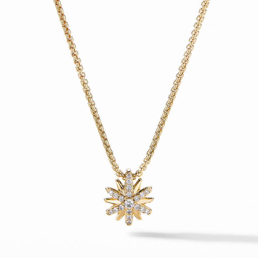 Petite Starburst Station Necklace in 18K Yellow Gold with Pavé Diamonds