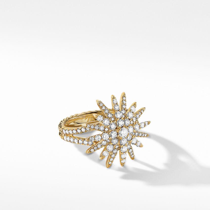 Starburst Ring in 18K Yellow Gold with Full Pavé Diamonds