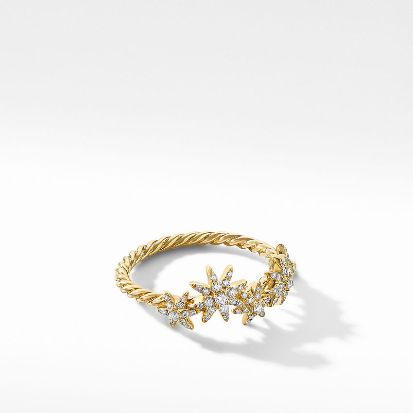 Starburst Cluster Band Ring in 18K Yellow Gold with Pavé Diamonds