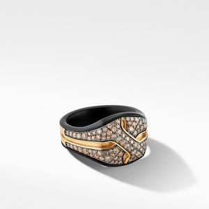 Armory® Signet Ring in Black Titanium with Pavé Cognac Diamonds and 18K Yellow Gold