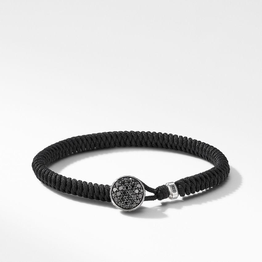 Woven Black Nylon Bracelet with Pavé Black Diamonds