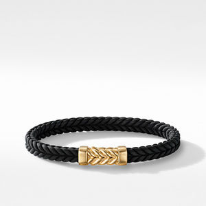 Chevron Black Rubber Bracelet with 18K Yellow Gold