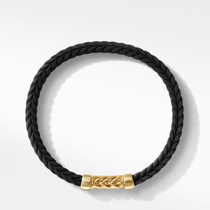 Chevron Black Rubber Bracelet with 18K Yellow Gold alternative image