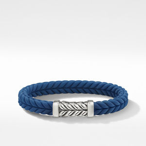 Chevron Blue Rubber Link Bracelet
