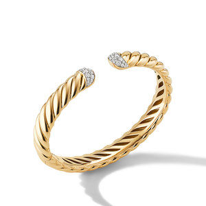 Sculpted Cable Cuff Bracelet in 18K Yellow Gold with Pavé Diamonds