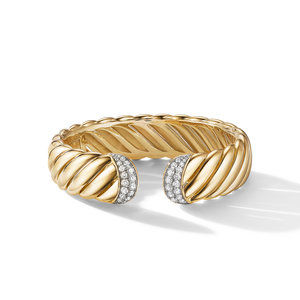 Sculpted Cable Cuff Bracelet in 18K Yellow Gold with Pavé Diamonds alternative image