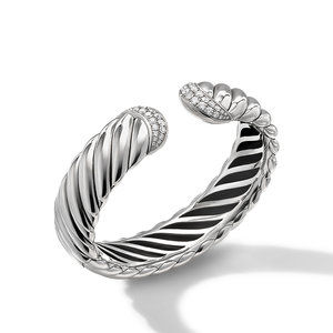 Sculpted Cable Cuff Bracelet with Pavé Diamonds