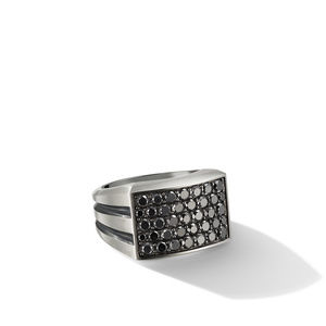 Beveled Signet Ring with Pavé Black Diamonds