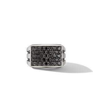 Beveled Signet Ring with Pavé Black Diamonds alternative image