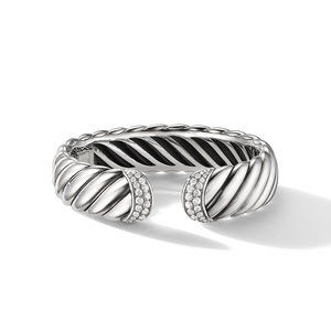 Sculpted Cable Cuff Bracelet with Pavé Diamonds alternative image