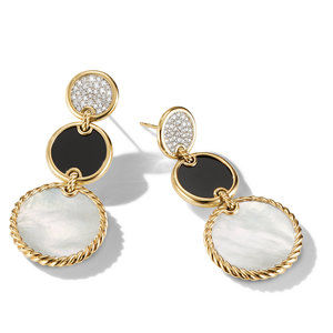 DY Elements Triple Drop Earrings in 18K Yellow Gold with Mother of Pearl, Black Onyx and Pavé Diamonds alternative image