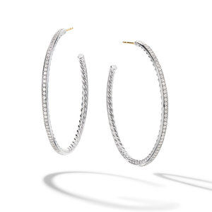 Large Hoop Earrings with Pavé Diamonds