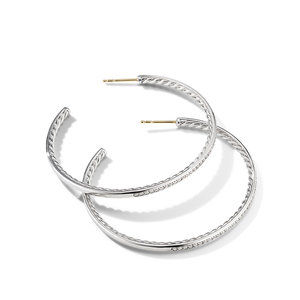 Large Hoop Earrings with Pavé Diamonds alternative image