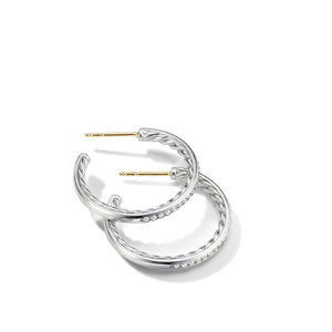 Small Hoop Earrings with Pavé Diamonds alternative image